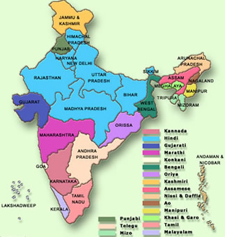 Different languages spoken in India